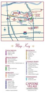 Map key of areas of interest on campus