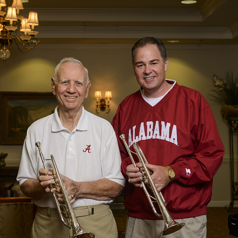John Bowers and father with trumpets
